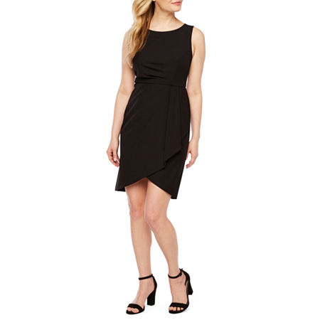Worthington-Petite Sleeveless Sheath Dress, 4 Petite , Black