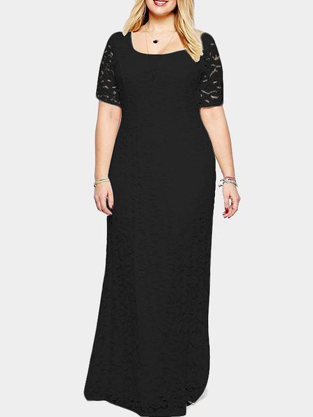 Yoins Plus Size Black Floral Lace Maxi Dress