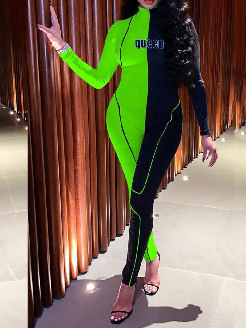 Ericdress Asymmetry Color Block Full Length Skinny Jumpsuit