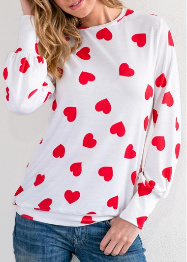 Rosewe Women Valentines Day Top Blouson Sleeve Round Neck Heart Print T Shirt - L
