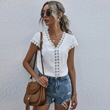 Solid Guipure Lace Trim Blouse