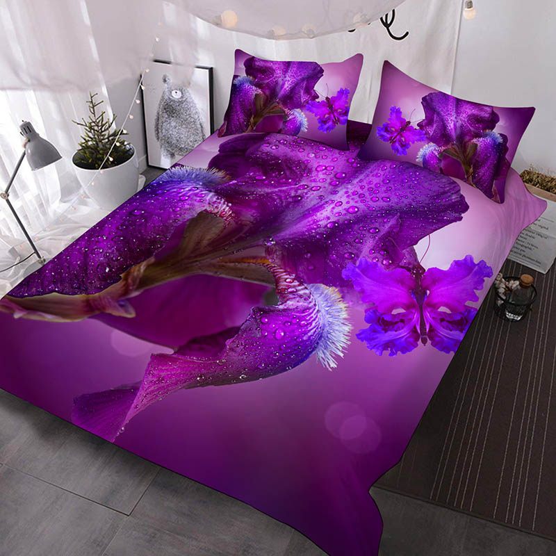 Purple Iris Japonica And Purple Butterfly Printed Polyester 3-Piece Comforter Sets