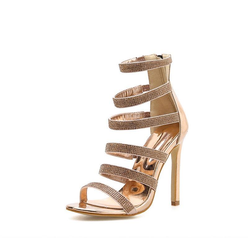 Ericdress Open Toe Stiletto Heel Zipper Sandals