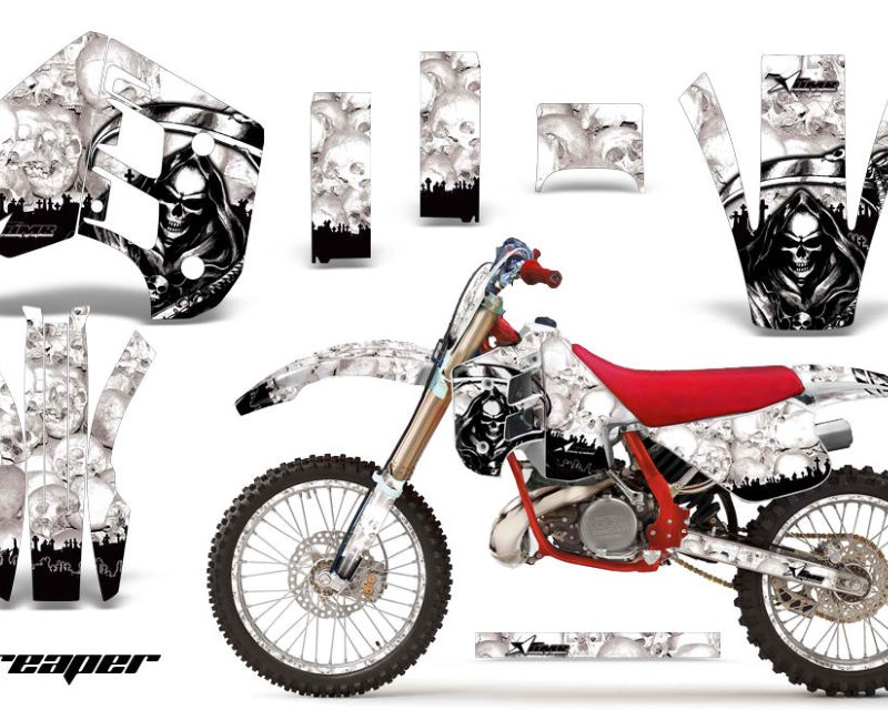 AMR Racing Graphics MX-NP-KTM-C8-90-92-RP W Kit Decal Wrap + # Plates For KTM EXC250 EXC300 MXC250 MXC300 1990-1992áREAPER WHITE