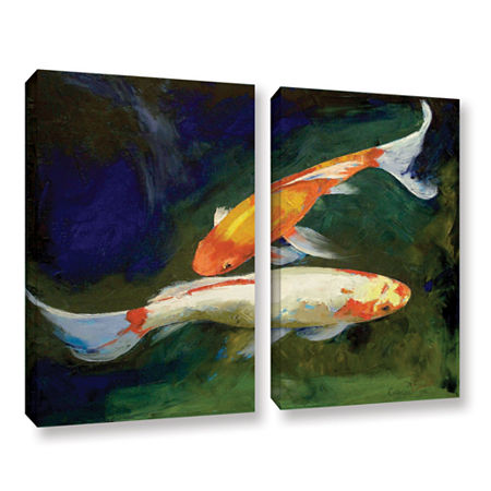 Brushstone Feng Shui Koi Fish 2-pc. Gallery Wrapped Canvas Wall Art, One Size , Green