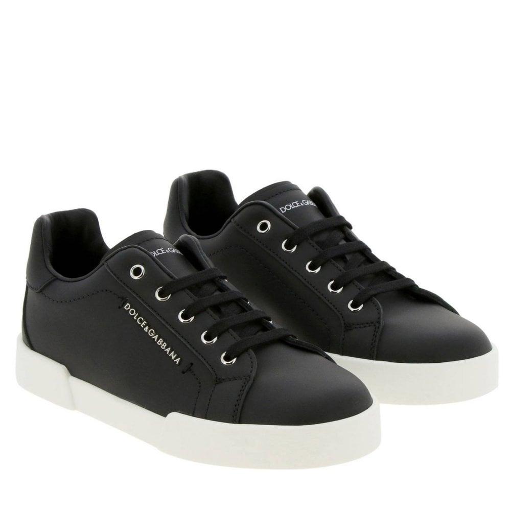 Dolce & Gabbana Black Leather Trainers Colour: BLACK, Size: 34