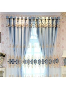 Elegant and Luxury Embroidered Blackout Custom Teal Curtain Sets for Living Room Bedroom 84W 84L 2 Panel Set Noise Reducing Privacy Protection and Ene