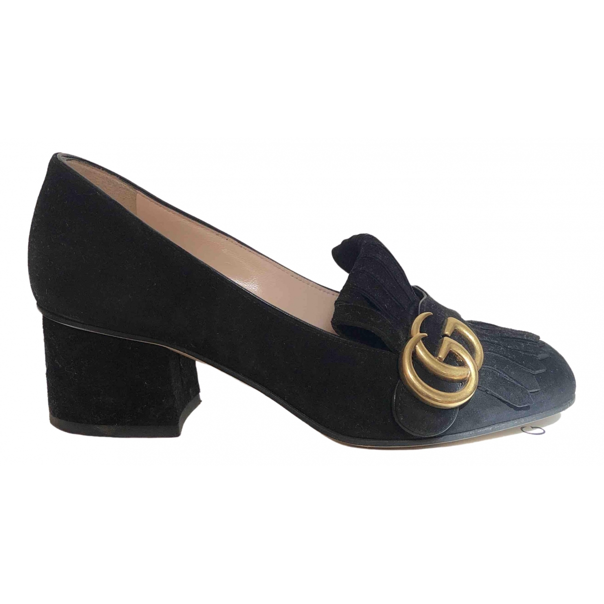 Gucci Marmont Black Leather Flats for Women 34.5 EU