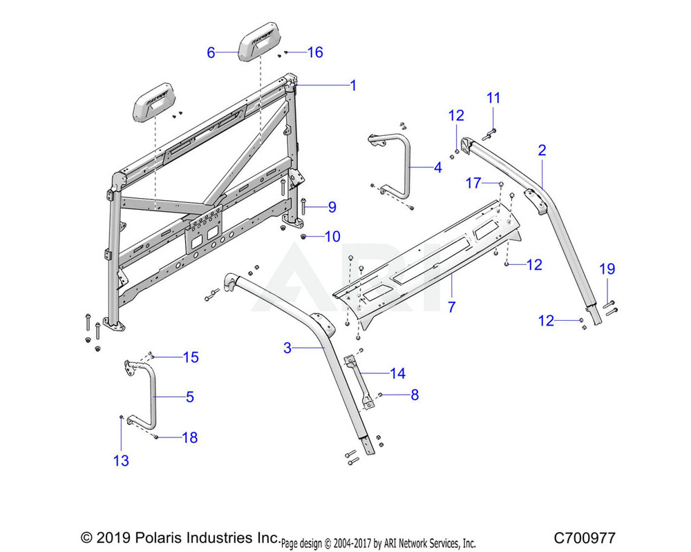 Polaris OEM 1025450-458 WELD-CAB FRAME, REAR, IS, M.BLK