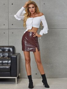 Zip Up Split Hem PU Leather Skirt