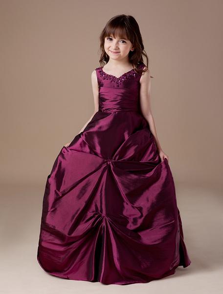 Milanoo Flower Girl Dress Taffeta Ball Gown Burgundy Ruched Beading Kids Pageant Dress V Neck Floor Length First Communion Dress