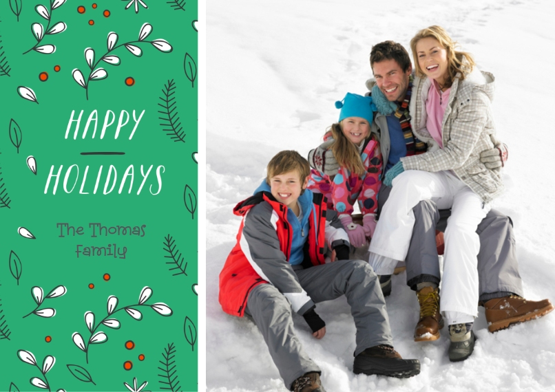 Holiday Photo Cards 5x7 Cards, Standard Cardstock 85lb, Card & Stationery -Dancing Holly Holiday