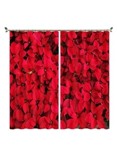 Romantic 3D Floral Boom Print Blackout Curtains Wedding Birthday Festival Party Background 250g/m² Polyester 80% Shading Rate and UV Rays Environmenta
