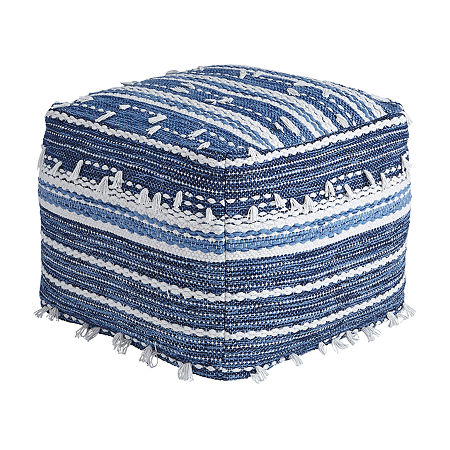 Signature Design by Ashley Anthony Striped Pouf Ottoman, One Size , Blue