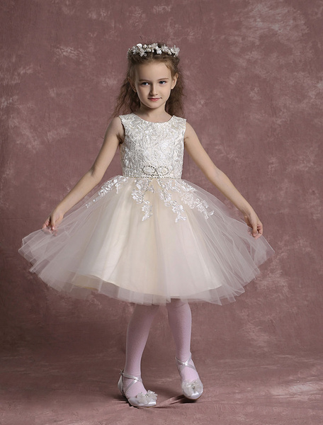 Milanoo Champagne Flower Girl Dresses Tulle Lace Pageant Dresses Toddler's Zipper Knee Length A Line Formal Dresses