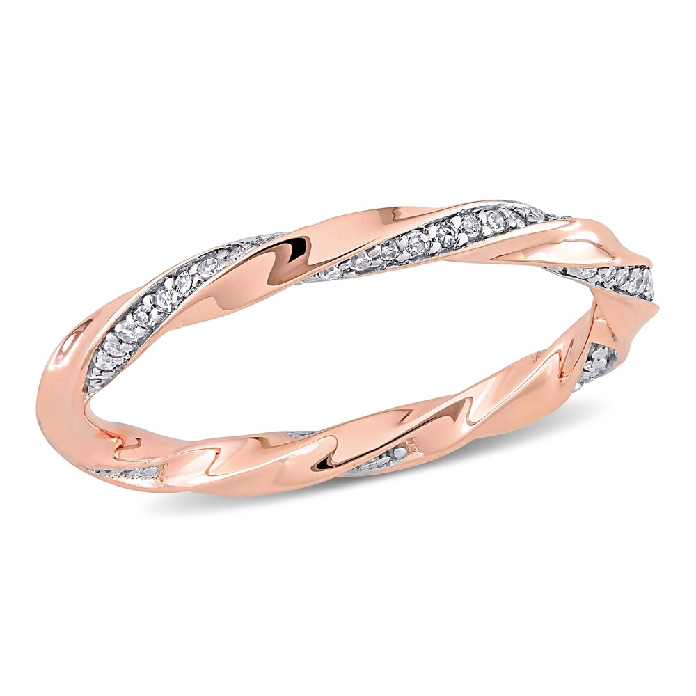 Miadora 10k Rose Gold 1/4ct TDW Diamond Twisted Stackable Eternity Band Ring (6)