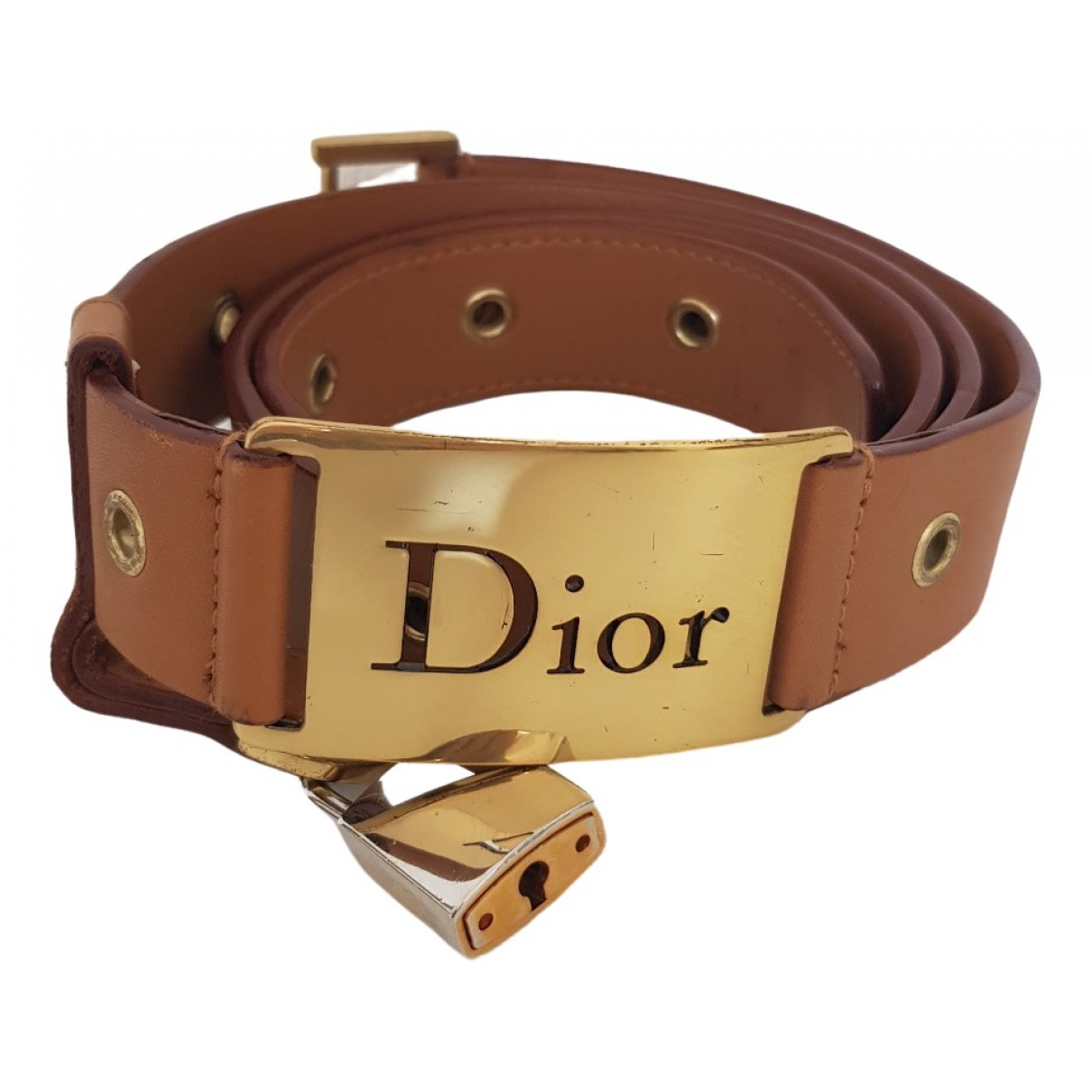Dior \N Brown Leather belt for Women M International