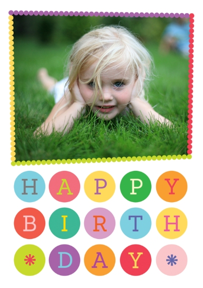 Kids Birthday Party Invites Flat Matte Photo Paper Cards with Envelopes, 5x7, Card & Stationery -Polka Dot Party Birthday