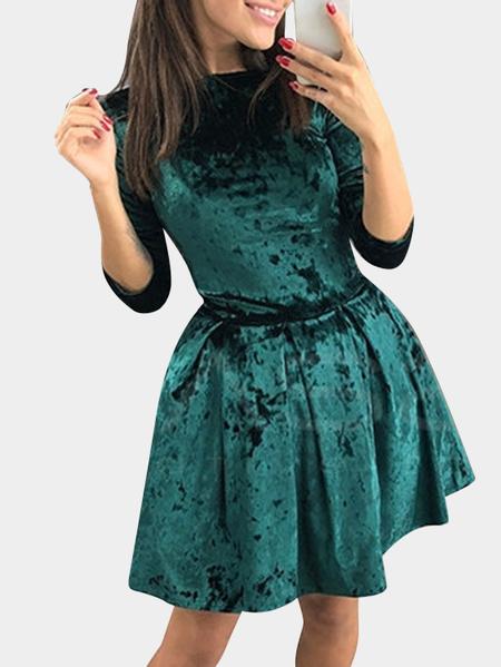 Yoins Green Plain Round Neck Flounced Hem Mini Dress