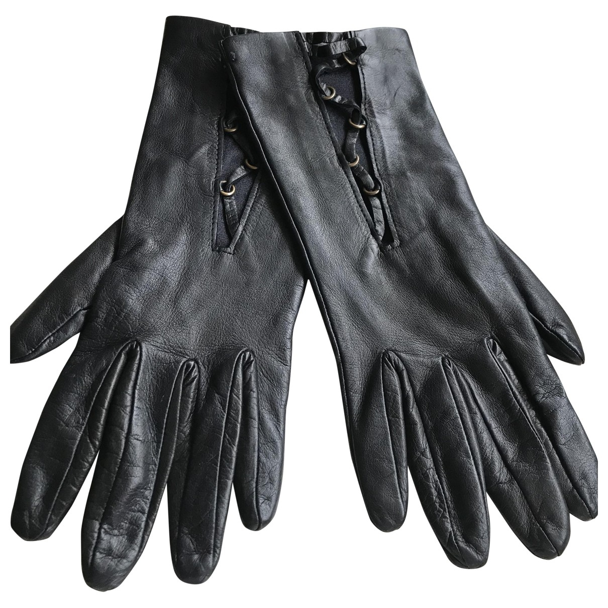 Versus \N Black Leather Gloves for Women 7.5 Inches