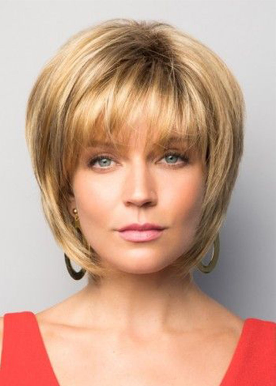 Straight Lace Front Cap Women Human Hair 120% 10 Inches Wigs Heat Resistant Natural Looking Daily Party Wigs Cosplay Wigs with Natural Bangs with Free