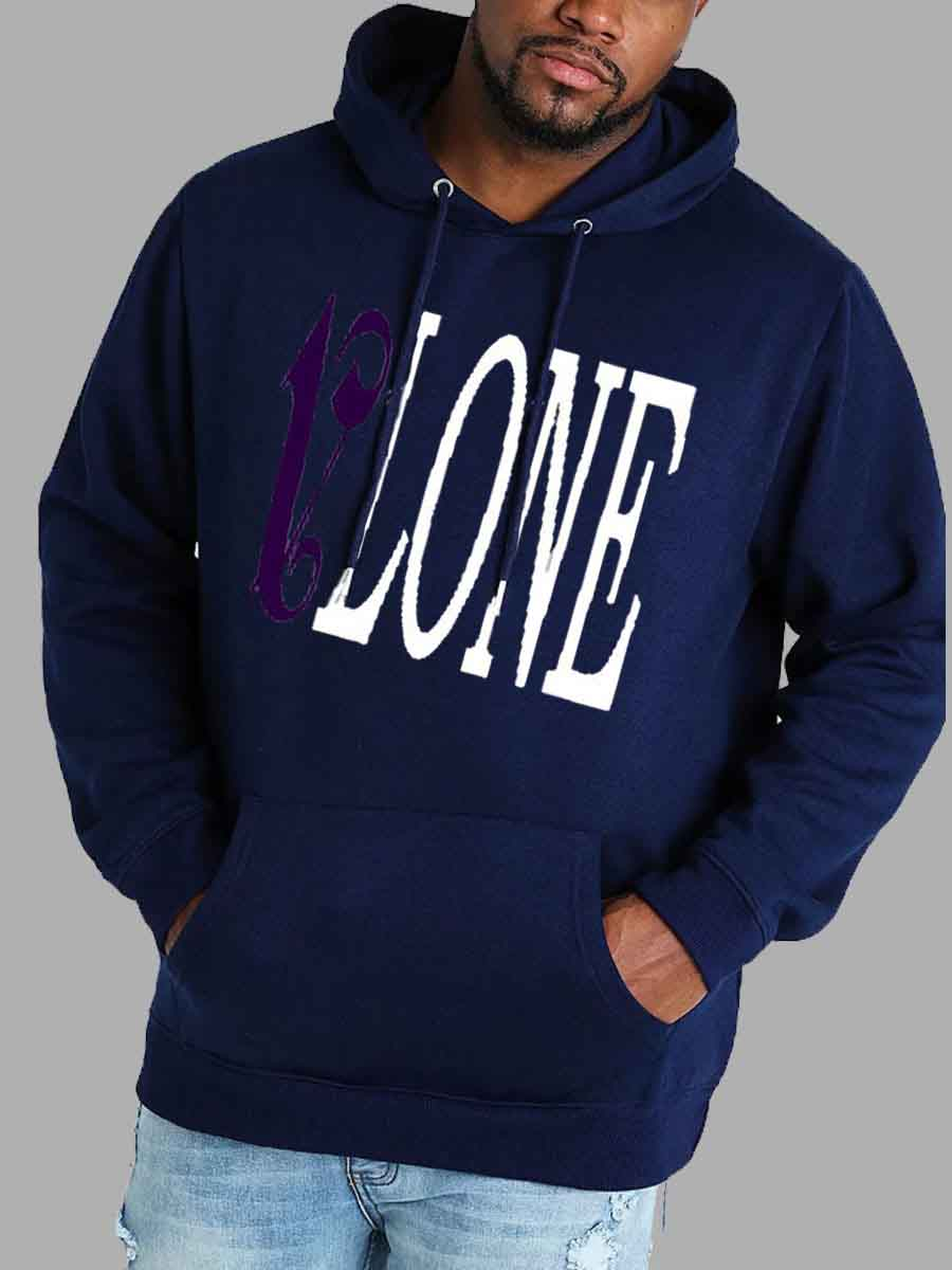 LW Lovely Casual Hooded Collar Letter Print Navy Blue Men Hoodie