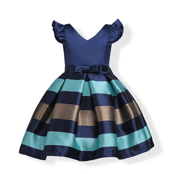 Striped Toddler Girls Kids Princess Party Dresses Formal Dress Ball Gown For 3Y-10Y