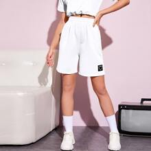 Heart Patched Elastic Waist Bermuda Shorts