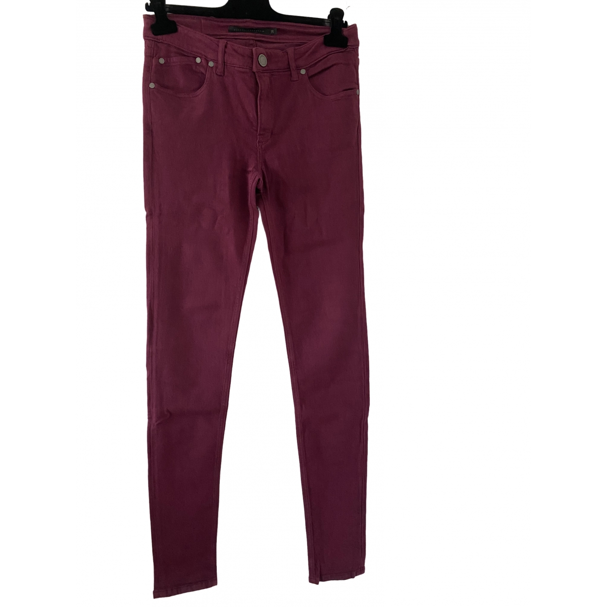 Victoria Beckham \N Burgundy Cotton - elasthane Jeans for Women 28 US