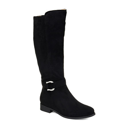 Journee Collection Womens Cate Wide Calf Stacked Heel Zip Riding Boots, 6 Medium, Black