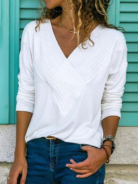 Milanoo Long Sleeves Tees White V Neck Women T Shirt