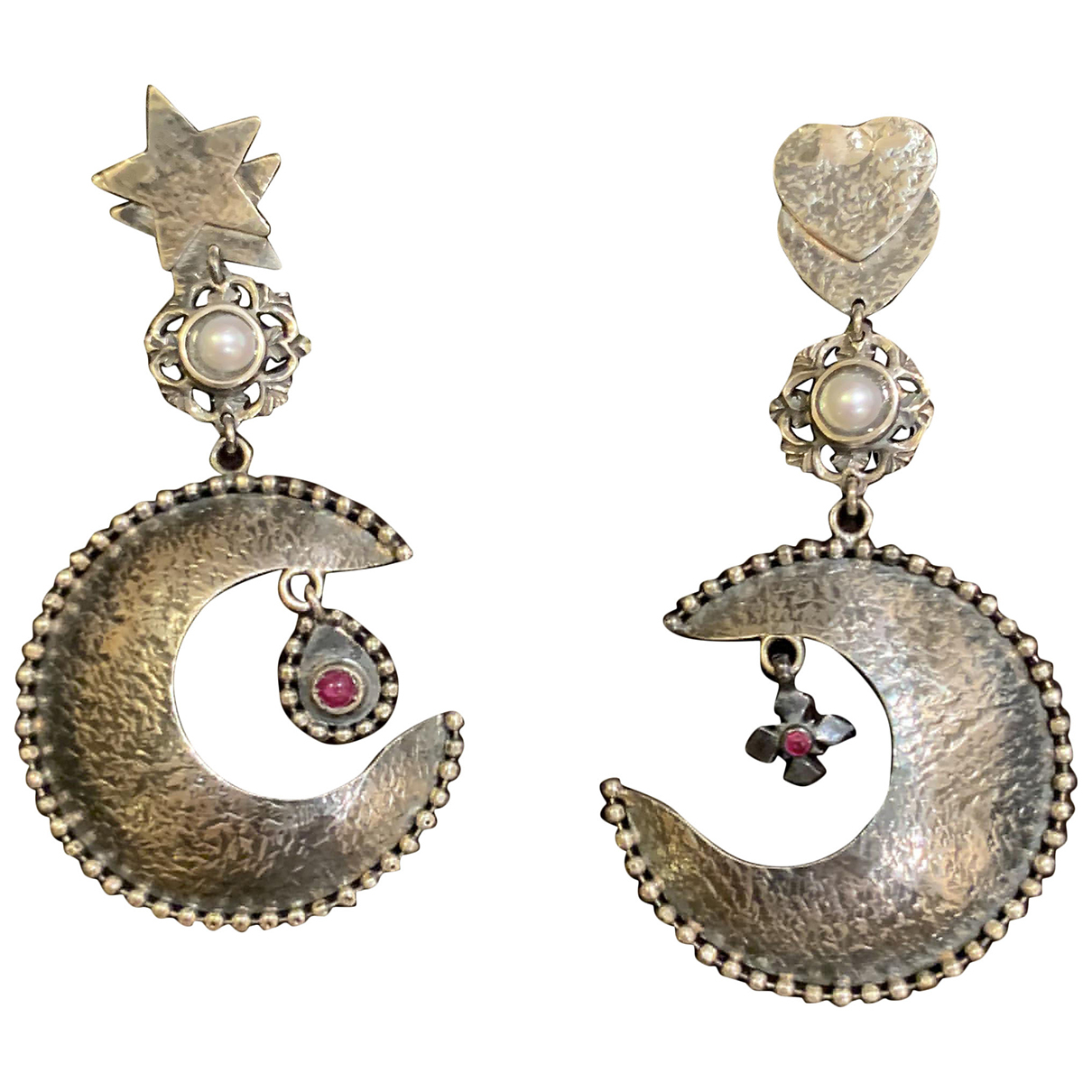 Non Signé / Unsigned Motifs Floraux Silver Silver Earrings for Women \N