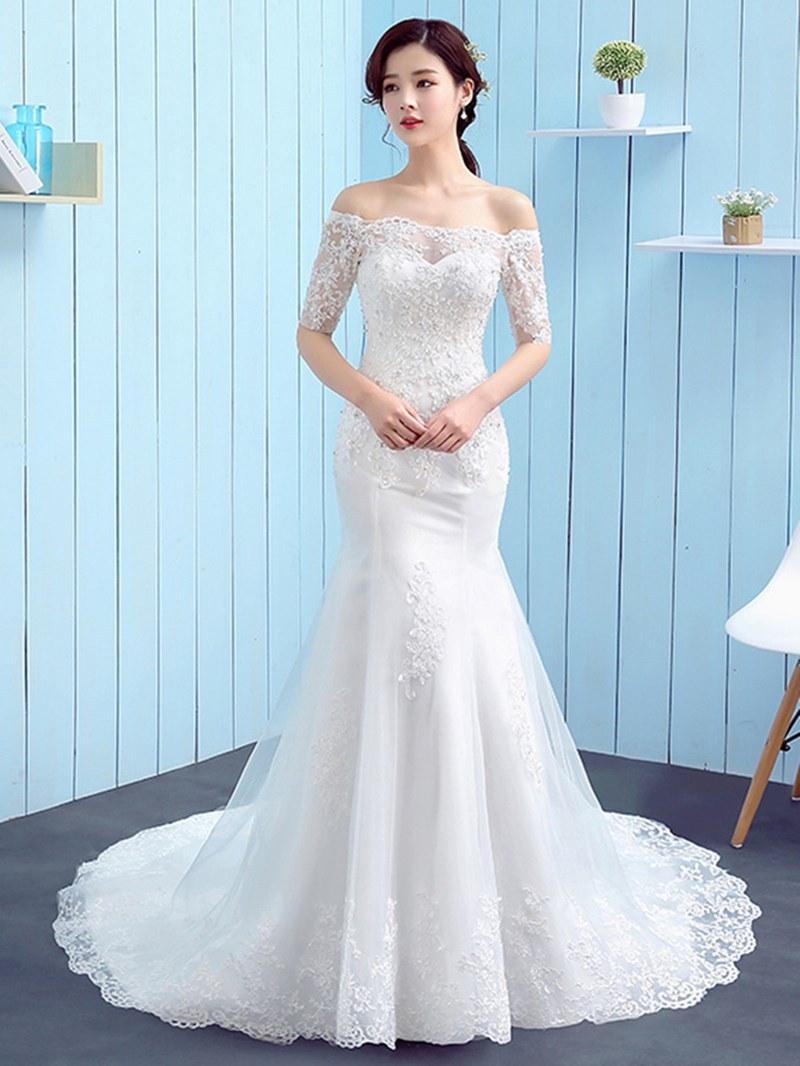 Ericdress Off The Shoulder Appliques Mermaid Wedding Dress With Sleeves