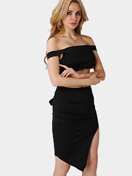 Yoins Black Off Shoulder Slit Hem Midi Dress with Cut Out Detail