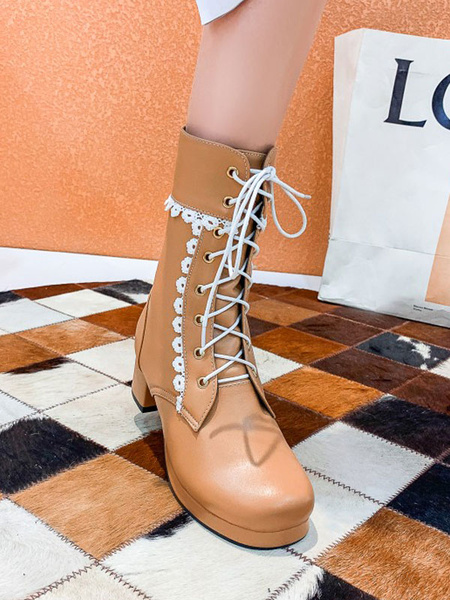 Milanoo Lolita Boots PU Leather Round Toe Lace Up Lolita Footwear