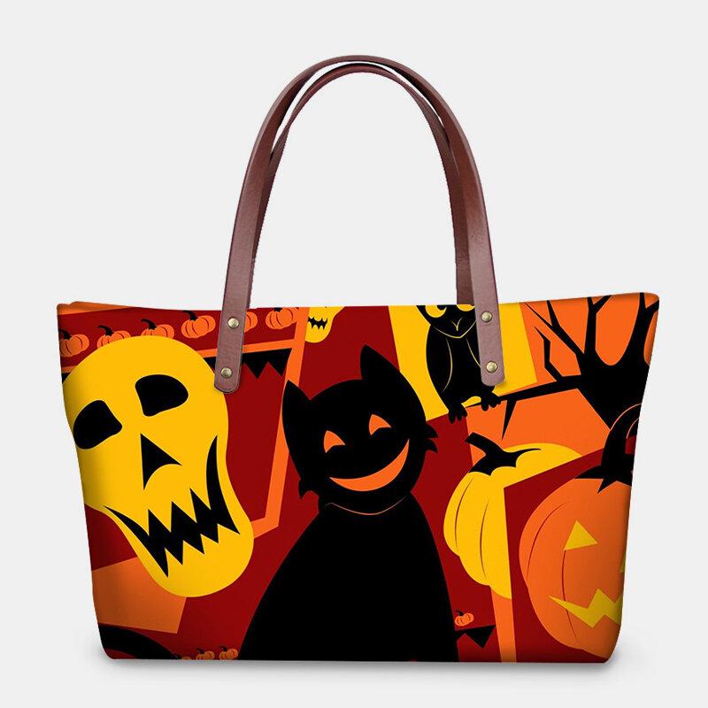 Women Pumpkin Skull Halloween Large Capacity Handbag Shoulder Bag Tote