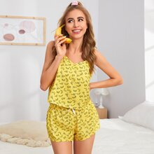 Allover Banana Print Cami Top & Bow Front Shorts PJ Set
