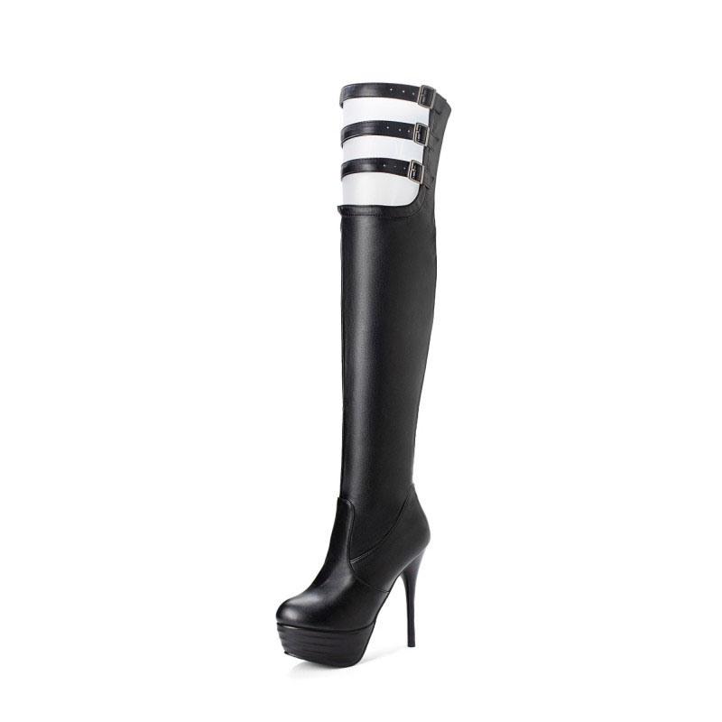 Ericdress Hasp Round Toe Stiletto Heel Sexy Thigh High Boots