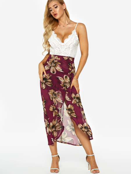 Yoins Random Random Floral Lace Insert Backless Irregular Hem Dress