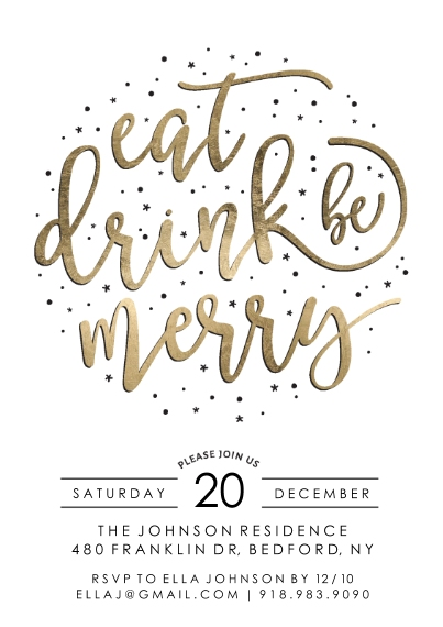 Christmas & Holiday Party Invitations 5x7 Cards, Premium Cardstock 120lb with Elegant Corners, Card & Stationery -Holiday Invite Gold Script