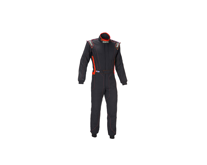 Sparco 001129H58NRRS Victory RS-4 Standard Cuff Black and Red Racing Suit 58 | L