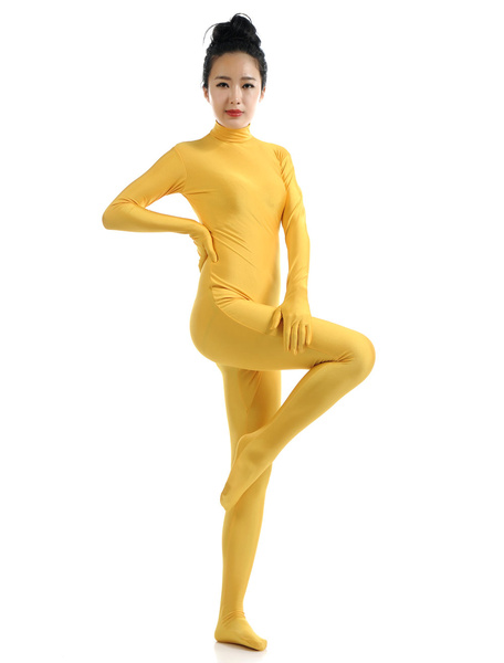 Milanoo Yellow Morph Suit Adults Bodysuit Lycra Spandex Catsuit for Women