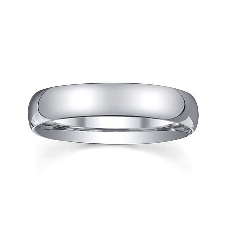 Personalized Mens 4mm Comfort Fit Domed Sterling Silver Wedding Band, 13 , No Color Family