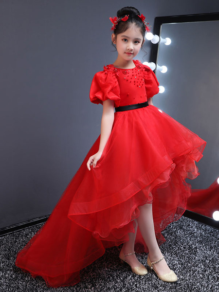 Milanoo Flower Girl Dresses Red High Low Kids Pageant Dress Short Sleeve Lace Beaded Sash Formal Party Dress For Little Girls