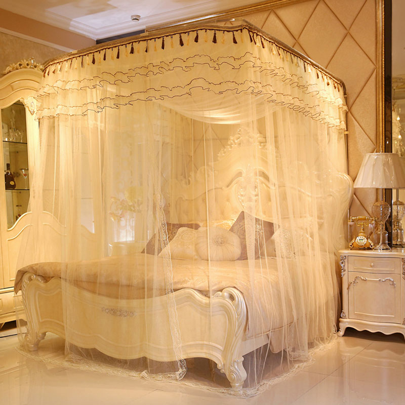 U-shaped Palace Bed Nets Three Door Thick Stainless Steel Bracket Encryption Square Roof Mosquito Net