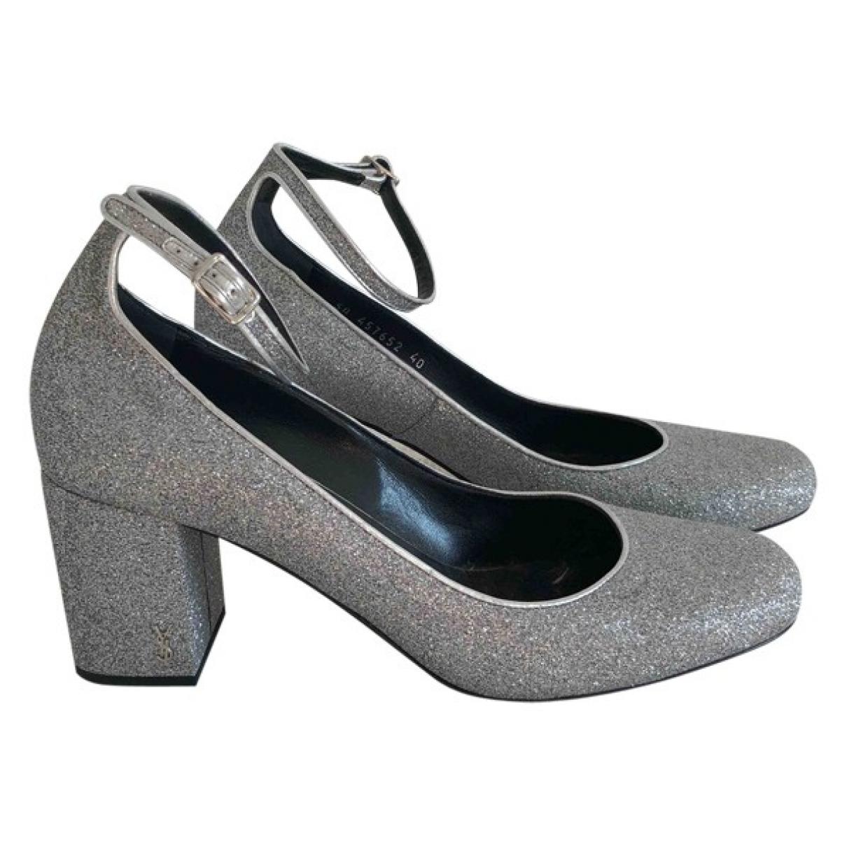 Saint Laurent \N Silver Glitter Heels for Women 40 EU