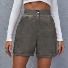 Zipper Fly Slant Pocket Cuffed Shorts