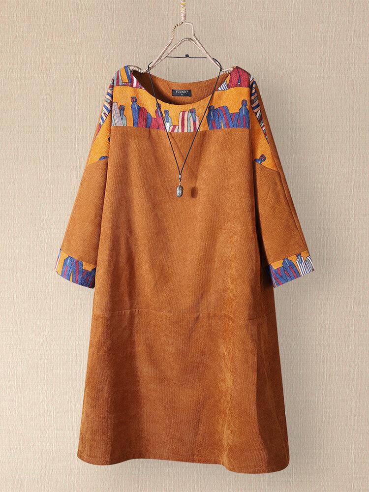 Vintage Printed Corduroy O-neck Patchwork Long Sleeve Midi Dress