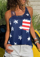Pocket American Flag Star Tank without Necklace - Deep Blue