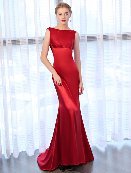 Milanoo Burgundy Evening Dresses Cowl Back Satin Formal Dress Sleeveless Pleated Evening Gowns With Train